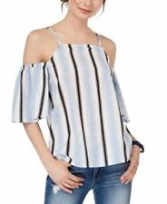 Almost Famous Womens Blue Striped Cold Shoulder Square Neck Top Size Xl $39