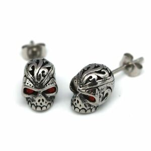 Red Eyes Skull Earrings with Cubic Zirconia Stainless Steel Jewelry By Controse