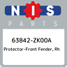 63842-ZK00A Nissan Protector-front fender, rh 63842ZK00A, New Genuine OEM Part