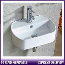 Modern Oval Round Compact Bathroom Cloakroom Basin Sink Wall Hung 450mmx300mm