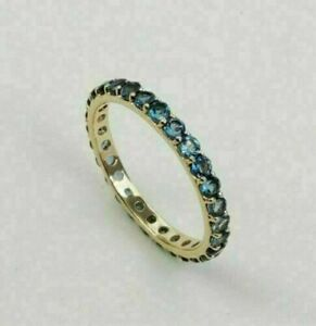 2Ct Round Cut London Blue Topaz Eternity Weeding Ring Band 14K Yellow Gold Over