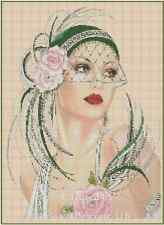 Art Deco Lady with Dark Green Hat and Pink Roses Cross Stitch Chart  No.1-3b