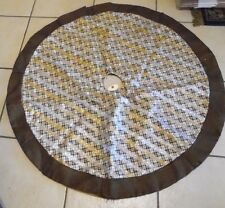 48 INCH CREAM & BROWN PLAID GLITTER STRIPES TREE SKIRT CHRISTMAS DECORATION