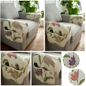 Kinsale Floral Print Arm Chair Caps With Storage - Pair - Heather or Terracotta