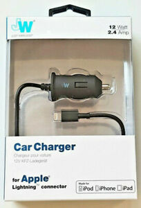 Just Wireless Fast Lightning Car Charger 2m Coiled Cable iPhone 5 6 7 8 X XS XR