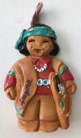 IndiMoppets Native Boy Christmas Ornament Arizona Signed by J Reid USA Red