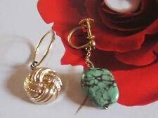 Deux anciennes boucles d'oreilles en or 9 carats et turquoise naturelle