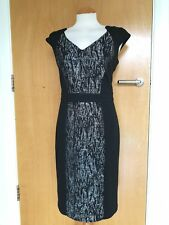 Ladies PER UNA Dress Size 12 Black Grey Wiggle Pencil Stretch Smart Party
