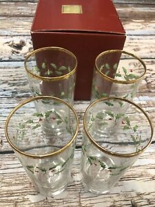 Lenox Holiday Hiball Glasses, Set of 4 New In Box