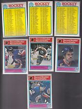 1982 - 83 OPC LOT of 3 NHL CHECKLISTS and 4 Record breaker Cards NM+ o-pee-chee
