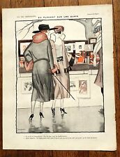 1920s La Vie Parisienne French Magazine Page- Two Women Shopping At The Docks