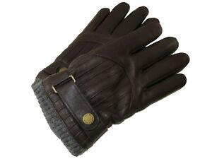 Polo Ralph Lauren Mens M Dark Brown Leather Buckle Winter Racing Gloves Medium