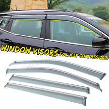 4PCS Window Visor Rain Deflectors Guard Vent Shade Chrome For Jeep Compass