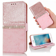 For iPhone X 8 7 6s Plus Glitter Diamond Leather Wallet Magnetic Flip Case Cover