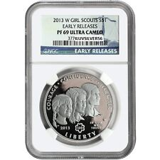 2013W Girl Scouts $1 Silver Commemorative Coin PF69 Ultra Cameo Early Releases