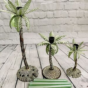 Set of 3 Vtg Metal Iron Palm Tree Tropical Candle Holders W Candles Tiered