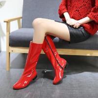 Women's Patent Leather zip Clubwear round Toe Block low Heel High mid calf Boots