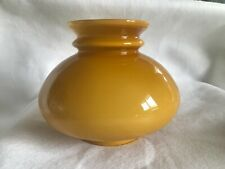 VINTAGE CARAMEL WHITE CASED GLASS OIL STUDENT LAMP SHADE BUTTERSCOTCH