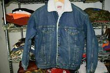 Levi's Levis vtg Sherpa Shearling Denim Trucker Jacket Coat Usa Made Men's Small