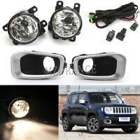 Front Bumper Fog Light Cover Wires Kit Driving Lamp For Jeep Renegade 2015-2018