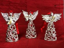 Lenox Christmas Ornaments CHOIR OF ANGELS Crystal Silverplated 24k Gold Gift Set
