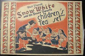 1937 Disney Snow White Children's pink 338S tin Tea Set ohio art original box