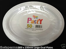 White Disposable Plastic Large Oval Plates 300mm X 230mm 50 Pcs Party/wedding 100 Pcs