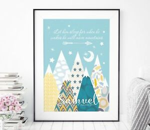 Let Him Sleep For When He Wakes Print - Turquoise Nursery Move Mountains Print
