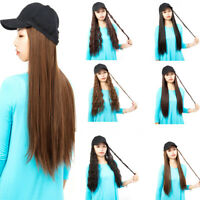 NEW Women Baseball Hat with Synthetic Hair Straight/Wavy Long Hair Wigs Cap DY