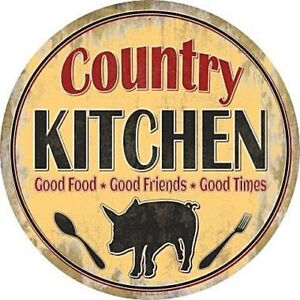 "Country Kitchen Good Times 12"" Round Metal Sign Novelty Retro Home Wall Decor"