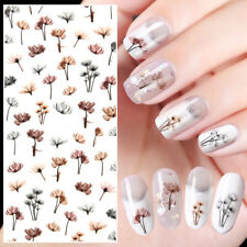 2 Sheets 3D Dandelion Design Nail Art Stickers Adhesive Manicure Transfer Decals