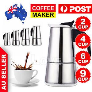 2/4/6/9-Cup Percolator Stove Top Coffee Maker Moka Espresso Latte Stainless Pot