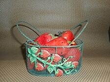 wire basket  strawberry  rustic  primitive home decor  fruit  kitchen vintage