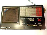 Soviet vintage old radio Meridian.  USSR 1980-90
