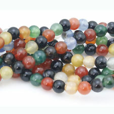 "6mm Natural Colorful Agate Round Gemstone Loose Beads 1 strand 15"" AAA+"