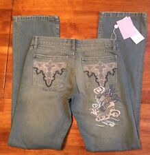 NWT Fancy Collection Women's Distressed Embroidered Jeans Pants Size 28 Blue