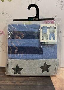 2 Pack Next Star Stripes Blue Grey Pyjamas 9 Years NEW Long Leg Short Sleeve