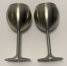 Set Of Two 18/10 Stainless Steel Wine Glasses In Excellent Preowned Condition!