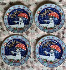 "Mary Engelbreit Snowman Set of 4 ""Let It Snow"" 8""Dessert Plates"