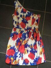 Topshop One Shoulder Pink/Blue Print Dress Size 8