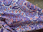 Vtg Cotton Quilt Fabric Floral Paisley in Purples and Tomato Red 36 W BTY