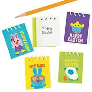 Pack of 12 - Mini Happy Hoppy Easter Spiral Notebooks - Party Loot Bag Fillers