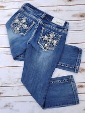Grace in LA Capri Jeans Size 25 Rhinestone Cross, Designer Jeans, Denim