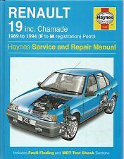 Haynes Service and Repair Manual 1646 Renault 19 inc Chamade 1989 - 1994 petrol
