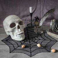 Black Spider Web Halloween Tablecloth Lace Table Topper Cover Halloween Decor