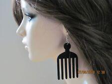 Afro Pick Earrings Comb Earrings African American Earrings Wood Earrings