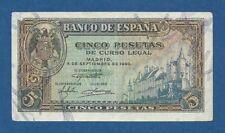 ESPAÑA // SPAIN -- 5 PESETAS ( 1940 ) -- EBC- // VF+ -- SERIE E -- PICK 123a .