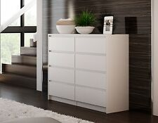 Massive White Chest of Drawers with 8 Drawers and Modern Inlaid Handles