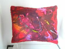 "Handmade Boiled Felted Pillow 16"" x 12"" Bright Pinks"