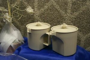 Beige Tupperware Sugar Bowl & Creamer Pitcher w/lids coffee Vintage free ship